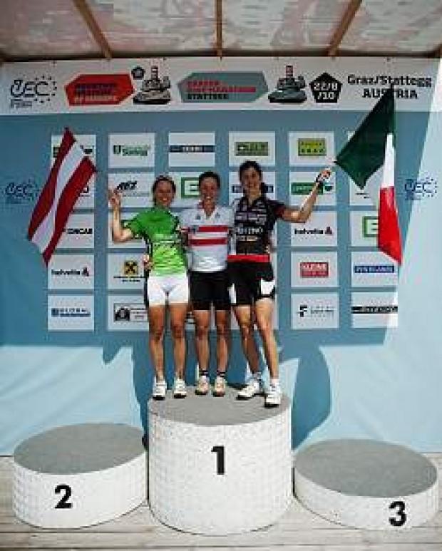 Die schnellsten 3 Damen: Lisi Unterbuchschachner AUT, Theresia Kellermayr AUT, Lorena Zocca ITA