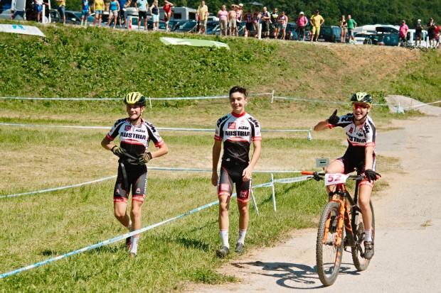 Marco Schrettl, Ryan Hoendervangers und Katharina Sadnik (von links)